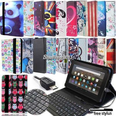 """Leather Stand Cover Case With Keyboard For 7"""" 8"""" 10"""" Amazon Kindle Fire Tablet"""
