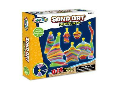 NEW Sand Art Craft Kit Play Set - Includes 7 x Bottles, 8 x bags Coloured Sand