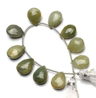 """Natural Green Chrysoberyl Cat's Eye Gem Faceted 14x10MM Approx Size Pear Beads5"""""""