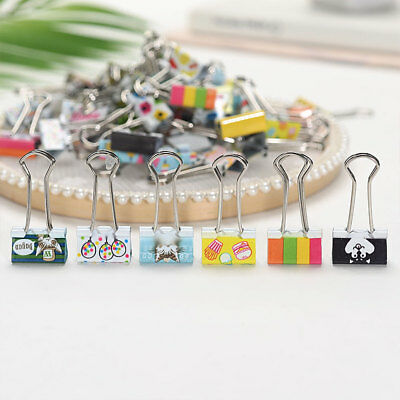 12PCS Set Black Binder Clips File Paper Note Photo Stationary Office Mixed Color