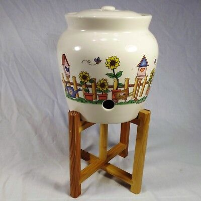 Stoneware Jug Iced Tea Lemonade Dispenser Springtime Scene by Transfar INTL Corp