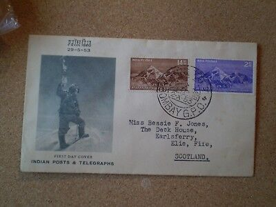 FIRST DAY COVER CONQUEST OF EVEREST 29th MAY 1953 POST MARK Bombay