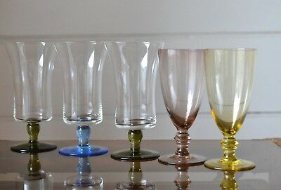 Vintage 5 x  coloured drinking alcohol glasses fluted