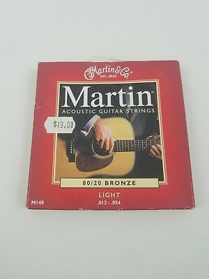 New Martin M140 80/20 Bronze Acoustic Guitar Strings, Light Guage +Free Shipping