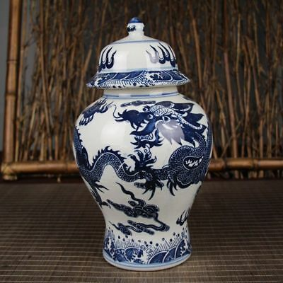 China Dynasty Old Blue & White Porcelain Painting Dragon playing ball Jug Jars