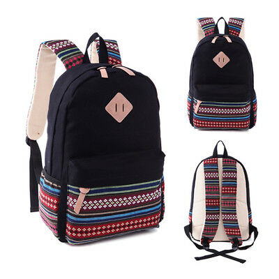 Womens Ladies Canvas Backpack Tribal Shoulder School Book Bag Travel Rucksack