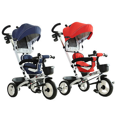 4-in-1 Baby Tricycle Stroller Folding Kids Trike Detachable w/ Canopy
