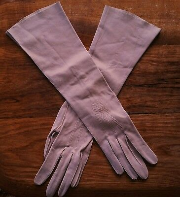 Vintage elbow length kid leather gloves made in France pearl buttons size 7 1/2