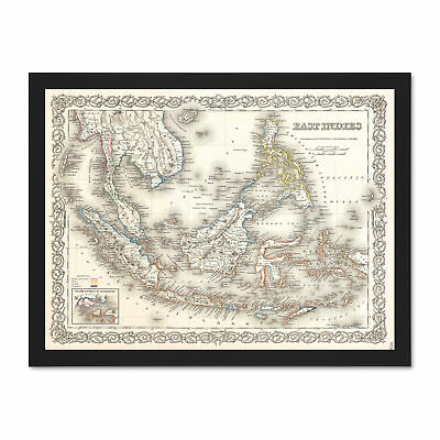 1855 Colton Map East Indies Singapore Thailand Borneo Picture Large Framed Print