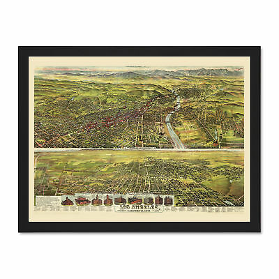 Map Los Angeles California 1894 Picture Large Framed Art Print
