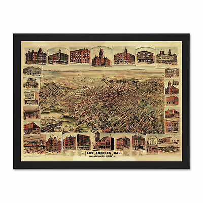 Map Los Angeles California 1891 Picture Large Framed Art Print