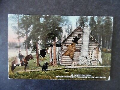 1916 Northwest Hunters Cabin & Hunter Postcard Waitsburg Washington Cancel