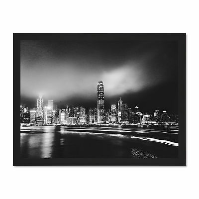 New York Skyline Night Large Framed Wall Art Print Poster