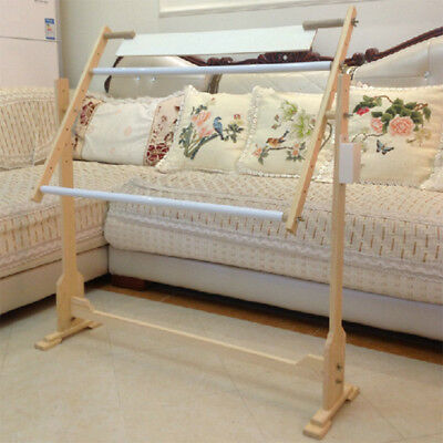 32CT Wood Embroidery Tapestry Cross Stitch Frame Floor Stand Sewing Hoop 78x50cm