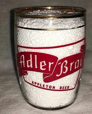 Vintage Adler Brau Beer Barrel Glass Gold Trim Appleton Wi