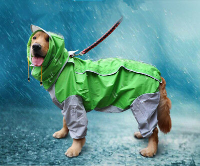 Extra Large Dog Raincoat Outdoor Hoodie Jacket Pet Waterproof Muddy Rain Coat
