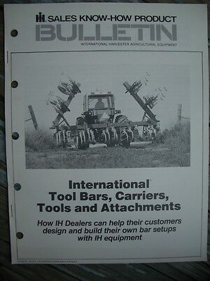 Vintage International Harvester IH Tool Bars, Carriers, Attachments Bulletin