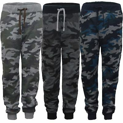 Kids Camo Print Jogging Trousers Girls Boys Sweatpants Bottoms Tracksuit 3-14 Y