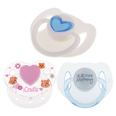 3 Pieces Cute Cartoon Dummy Pacifier + Magnet Reborn Doll Baby Doll Supplies