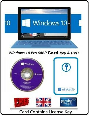 Microsoft Windows 10 Pro Professional 64-Bit  DVD + Win 10 License Card 1 PC Key