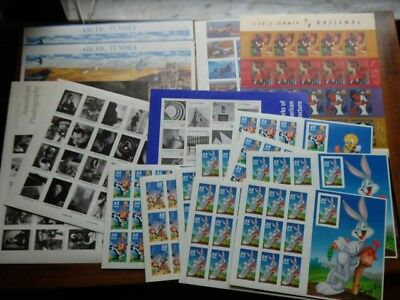 Lot Of Unused Postage Stamps $70.24 Face Value Blocks Sheets BUGS BUNNY AVIATION