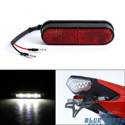 3 SMD LED Rear Tail License Number Plate Light W/ Red Reflector For Honda Suzuki