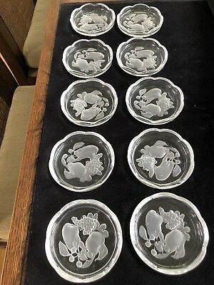 Vintage Val St Lambert Set 10 Intaglio Fruit Brussels Crystal Coasters Scalloped