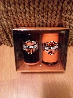Harley Davidson Salt  and Pepper Shakers New With Box  NEVER USED! Orange Black
