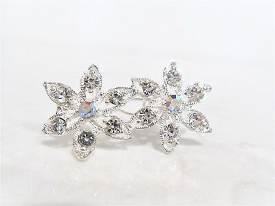 Tiny small silver double flower crystal hair pin clip barrette