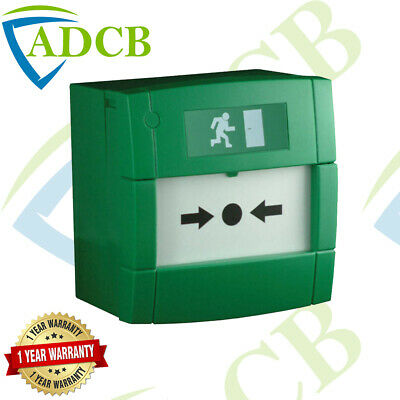 D6C - Fully Key Resettable Manual Fire Call Point Green Emergency Door Release