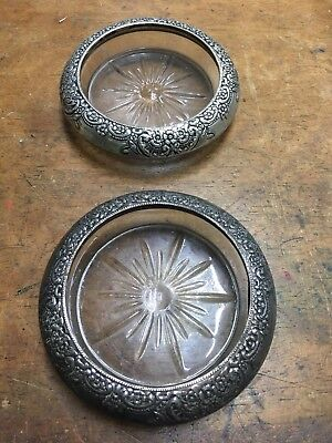 2-Vintage Sterling Silver & Crystal Coasters/Ashtrays  Frank M Whiting *Sterling