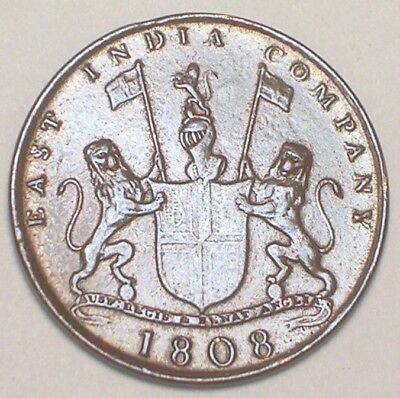 1808 India Indian East India Company 10 Cash Coat of Arms Lions Coin VF+ Tone