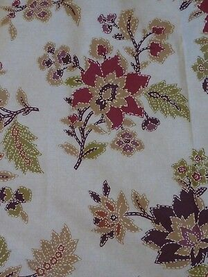 """Bedeck Darcey Cream Curtains Warm Jewel Toned Florals Cotton Lined 65""""W x ..."""