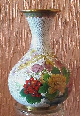 """Large 8"""" Chinese Brass/Enamel Cloisonne' Vase with Multi-coloured Floral Cluster"""