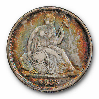 1838 O Seated Liberty Dime Very Fine to Extra Fine Colorful Toned Key Date #8014