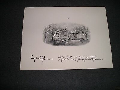 White House President Lyndon Johnson Gift Card Vignette signed (S)