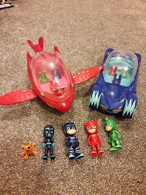 4 x PJ Masks Figures Plus Light-Up and Sound Catcar And Owlglider