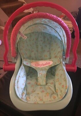 American Girl Bitty Baby Carrier Car Seat Aqua Teal Pink RETIRED