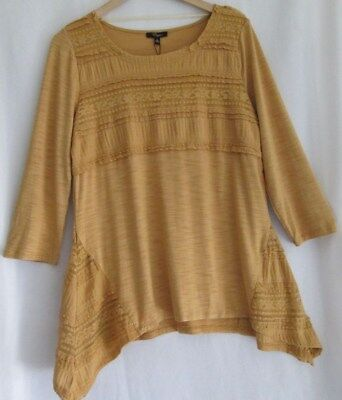 6a26b5bd127 NWT cupio women s hi lo top size XL L gold hippie inspired lace trim long  sleeve