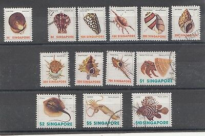 Singapore Seashells & Fish  set of  13  fine Used SG 289-301 Cat value £14