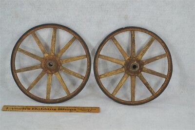 wheels wood spoke rimmed pr 10 in. carriage wagon toy early painted antique