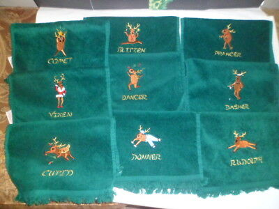 Set of 9 embroidered Christmas reindeer hand towels, all of the reindeer