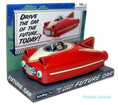 Tin Toy Space Ship Red Friction Powered Motor Future Car