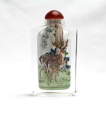 Vintage Reverse Inside Painted Wolfs And Dears Glass Chinese Snuff Bottle