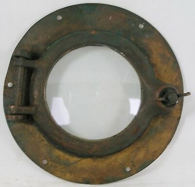 "Antique Porthole bronze, Salvaged  8.5"" porthole, 5"" ID Flange Nautical Maritime"