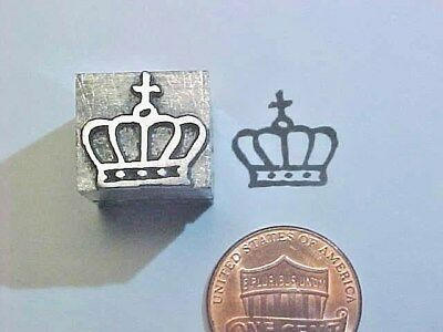 CROWN King Queen Royalty Dingbat Symbolic TROYER 53 ATF Letterpress Printers Cut