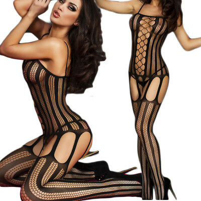 Bodystocking rete donna intimo notte catsuit sexy lingerie body nero hot DS79401
