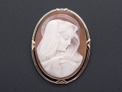 14k Yellow Gold Carved Shell Virgin Mary Cameo Woman Portrait Brooch Pin