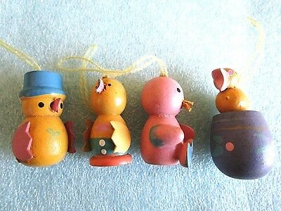 Vintage Set Of 4 Wood Easter Baby Chicks, Duck, Bird Ornaments Rare Design