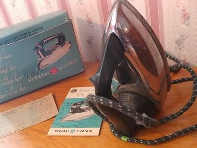 Never used Vintage GE Steam and Dry Iron with box & booklet circa 1950's